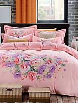 cheap -Duvet Cover Sets Floral Poly / Cotton Printed 4 Piece