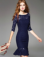 cheap -SHIHUATANG Women's Street chic / Sophisticated Trumpet / Mermaid Dress - Solid Colored Lace