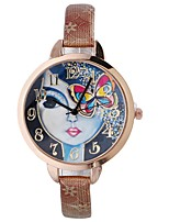 cheap -Women's Wrist Watch Chinese Creative / Casual Watch / Large Dial PU Band Flower / Casual Black / Blue / Red