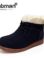 baratos -Mulheres Sapatos Pele de Carneiro Inverno Botas de Neve Botas Sem Salto para Casual Ao ar livre Azul Escuro Amarelo Vinho