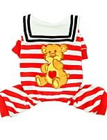 cheap -Dogs / Cats / Pets Shirt / T-Shirt Dog Clothes Striped / Love / Cartoon Red / Blue Cotton Costume For Pets Female Sweet Style / Stripes