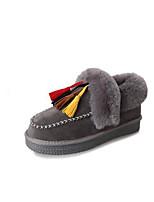 Недорогие -Жен. Обувь Бархатистая отделка Наступила зима Зимние сапоги Ботинки На плоской подошве Круглый носок Ботинки С кисточками Черный / Серый
