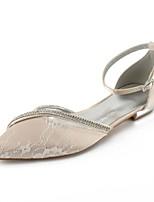 abordables -Femme Chaussures Dentelle Eté Bride de Cheville / D'Orsay & Deux Pièces / Ballerine Chaussures de mariage Talon Plat Bout pointu Strass /