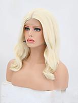 abordables -Perruque Lace Front Synthétique Mat Coupe Dégradée Ligne de Cheveux Naturelle Doré Femme Dentelle frontale Perruque Naturelle Mid Length