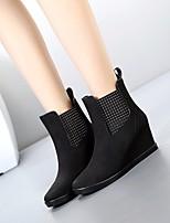 baratos -Mulheres Sapatos Pele Nobuck Outono Botas de Chuva Botas Salto Plataforma Botas Cano Médio Preto / Cinzento / Vinho