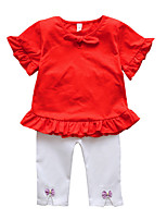 cheap -Kids Girls' Solid Colored Half Sleeves Clothing Set