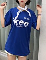 cheap -Women's Cotton T-shirt - Letter / Cotton / Summer / Letter