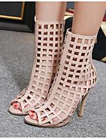 abordables -Femme Chaussures Similicuir Printemps été Gladiateur Bottes Talon Aiguille Bout ouvert Bottes Mi-mollet Noir / Marron / Amande