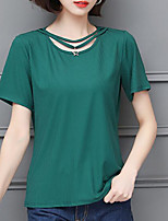 cheap -Women's Vintage T-shirt - Solid Colored Black & White, Tassel