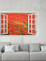 Недорогие -Декоративные наклейки на стены / Наклейки на холодильник - 3D наклейки Пейзаж / Цветочные мотивы / ботанический Спальня / В помещении