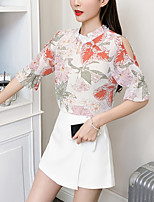 Недорогие -Жен. Блуза Вырез под горло Цветочный принт