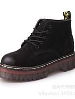 Недорогие -Жен. Обувь Кожа Наступила зима Удобная обувь / Армейские ботинки Ботинки На плоской подошве Ботинки Черный / Серый