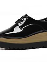 abordables -Femme Chaussures Cuir Verni Printemps été Confort Oxfords Creepers Bout carré Noir