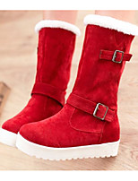 cheap -Women's Shoes Nubuck leather Winter Snow Boots Boots Flat Heel Mid-Calf Boots for Casual Black Brown Red