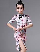 cheap -Latin Dance Dresses Girls' Performance Ice Silk Pattern / Print / Split / Ruching Half Sleeve Dress
