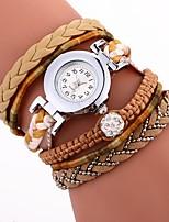 economico -Per donna Orologio braccialetto Cinese imitazione diamante / Orologio casual PU Banda Stile Boho / Di tendenza Nero / Bianco / Blu