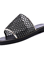 cheap -Women's Shoes Tulle Summer Comfort Slippers & Flip-Flops Flat Heel Round Toe for Casual White Black