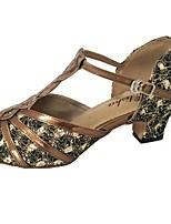 baratos -Mulheres Sapatos de Dança Latina Couro Ecológico Salto Salto Grosso Personalizável Sapatos de Dança Preto / Prateado / Bronze
