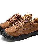 baratos -Homens sapatos Pele Napa Primavera Outono Conforto Oxfords para Casual Festas & Noite Preto Marron Khaki