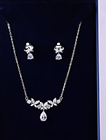cheap -Women's Cubic Zirconia Jewelry Set - Leaf, Drop Fashion, Elegant Include Drop Earrings / Pendant Necklace White For Wedding / Engagement