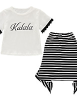 cheap -Kids Girls' Striped Short Sleeves Clothing Set