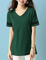 economico -T-shirt Per donna Tinta unita A V - Cotone / Largo