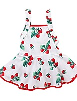 abordables -bébé Fille Actif / Basique Sortie Fleur / Fruit Imprimé Sans Manches Longue Longue Robe / Coton / Bébé