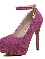 abordables -Femme Chaussures Polyuréthane Printemps été Escarpin Basique Chaussures à Talons Talon Aiguille Bout rond Paillette / Boucle Argent / Rouge