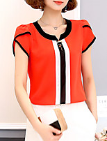 cheap -Women's Basic Blouse - Color Block Patchwork