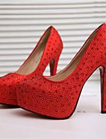 baratos -Mulheres Sapatos Couro Ecológico Primavera Verão Plataforma Básica Saltos Salto Agulha Ponta Redonda Pedrarias Branco / Vermelho