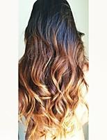 cheap -Remy Human Hair Wig Brazilian Hair Wavy Layered Haircut 130% Density Dark Roots Ombre Hair Blonde Short Long Mid Length Women's Human
