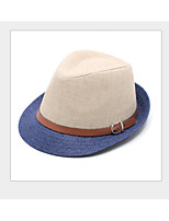cheap -Men's Vintage Holiday Linen Beret Hat Straw Hat - Color Block Ruffle