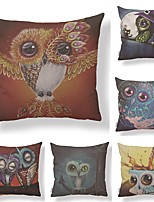 cheap -6 pcs Textile / Cotton / Linen Pillow case, Simple / Owl / Printing Square Shaped / Accent / Decorative