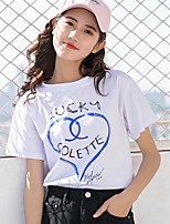 cheap -Women's Active / Basic T-shirt - Solid Colored Blue & White, Print