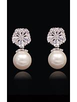 preiswerte -Damen Kristall - Perle, vergoldet, S925 Sterling Silber Kugel, Schneeflocke Urlaub, Europäisch, Modisch Weiß und Silber Für Alltag / Festtage