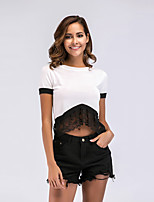 cheap -Women's Basic / Street chic T-shirt - Color Block Lace