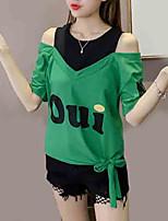 cheap -Women's T-shirt - Letter Off Shoulder