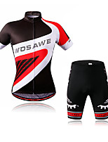 cheap -WOSAWE Short Sleeve Cycling Jersey with Shorts - Black / Red Bike