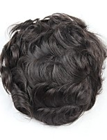cheap -Men's Human Hair Toupees Wavy Soft / Comfy / 100% Hand Tied