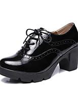 abordables -Femme Chaussures Polyuréthane Eté Confort Oxfords Talon Bottier Noir / Vin / Amande