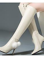 Недорогие -Жен. Обувь Наппа Leather / Кожа Зима Модная обувь Ботинки На шпильке Сапоги выше колена Черный / Бежевый