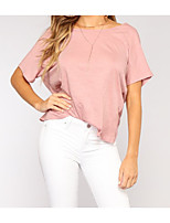 cheap -Women's Street chic T-shirt - Solid Colored Backless
