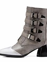 Недорогие -Жен. Обувь Полиуретан Осень Армейские ботинки Ботинки На толстом каблуке Заостренный носок Сапоги до середины икры Черный / Серый