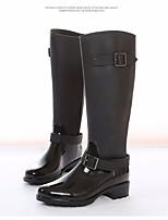 Недорогие -Жен. Обувь Резина Осень Резиновые сапоги Ботинки На толстом каблуке Сапоги до колена Черный / Вино