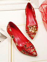 cheap -Women's Shoes Silk Spring & Summer Novelty Wedding Shoes Stiletto Heel Round Toe Red