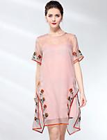 abordables -Femme Gaine Robe Couleur Pleine / Fleur Au dessus du genou