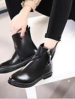 cheap -Women's Shoes Leather Fall Comfort Boots Chunky Heel for Black