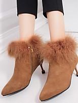 Недорогие -Жен. Обувь Нубук Зима Ботильоны Ботинки На шпильке Ботинки для Повседневные Черный Темно-коричневый