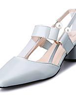 economico -Per donna Scarpe PU (Poliuretano) Estate Decolleté Tacchi Heel di blocco Perle di imitazione Beige / Azzurro chiaro