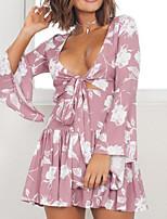 baratos -Mulheres Boho Vestidinho Preto Vestido Floral Mini
